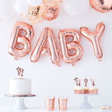 """Baby"" Rose Gold Balloon Bunting"